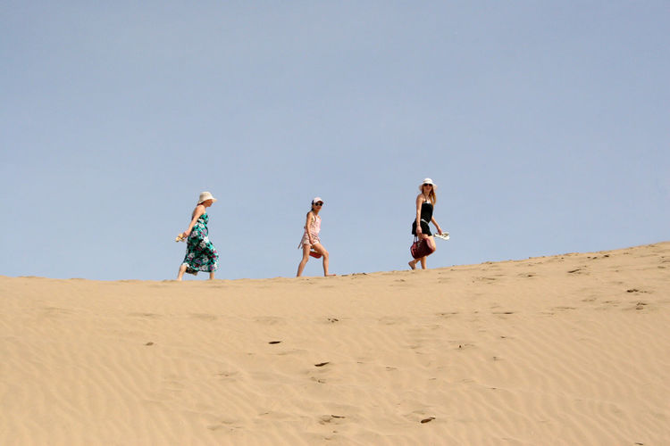 Low angle view of family walking at beach against clear sky