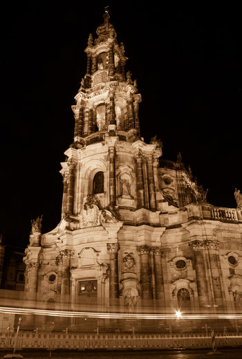 Schlosskirche, Dresden Church Night Lights Nightphotography Architectural Feature Architecture Baroque Bell Tower Building Exterior Built Structure History Illuminated Long Exposure Low Angle View Motion Night No People Outdoors Place Of Worship Religion Sculpture Sepia Sky Spirituality Travel Destinations Water