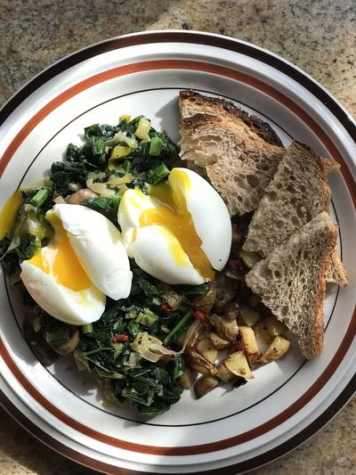 Food Food And Drink Healthy Eating Ready-to-eat Egg Freshness Wellbeing Meal Table Vegetable Plate Indoors  Breakfast No People Close-up Still Life Fried Fried Egg Directly Above High Angle View Egg Yolk Herb Sunny Side Up