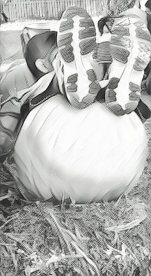 Relaxation Person Black And White Low Section Creativity Posing Daytime Showing Imperfection Pumpkin Patch Resting Enjoying With Family Casual Clothing Portrait
