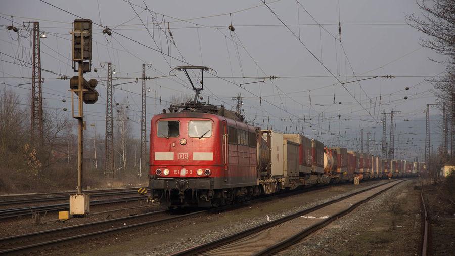 155 Eisenbahn Frost Güterzug Kälte Morgens Railway