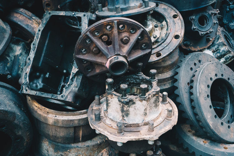 Transportation Metal Mode Of Transportation Machinery Land Vehicle Wheel Machine Part No People Abandoned Day Car Close-up Motor Vehicle Industry Old Tire Equipment Vehicle Part Rusty Outdoors Deterioration Garage