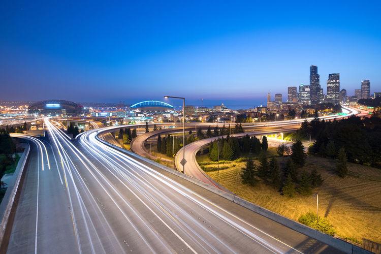 Intersection between I-5 and I-90, Seattle, Washington State, USA City Cityscape Interstate 90 Seattle Skyline Traffic Washington State Expressway Freeway Interstate 5 Night Streaking Light