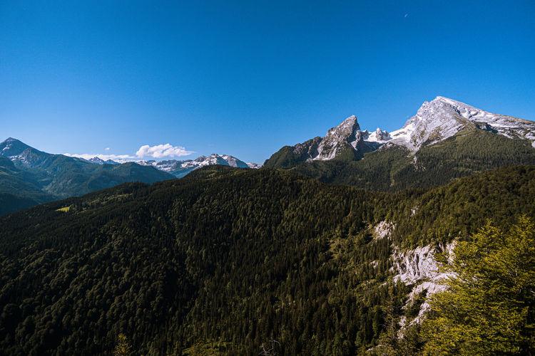 View from grünstein to watzmann on a sunny summer day
