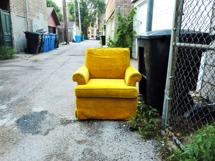 Chair Upholstery Architecture Building Exterior Built Structure Day No People Outdoors Yellow