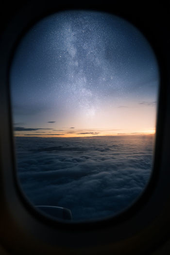 View of sea from airplane window