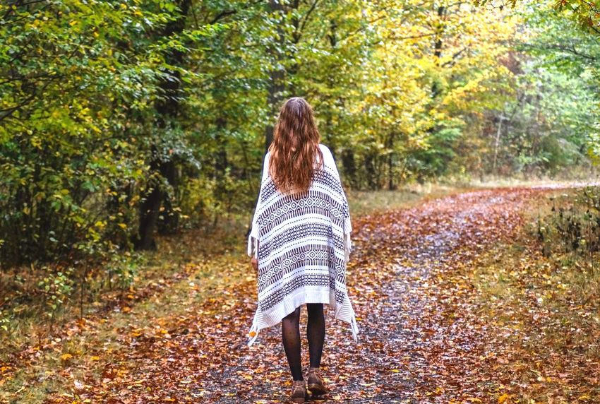 Walk this way.. Autumn Leaf Rear View Long Hair Only Women Nature Forest Full Length One Person One Woman Only Tree Adult Adults Only Walking Change One Young Woman Only People Outdoors Casual Clothing Young Adult