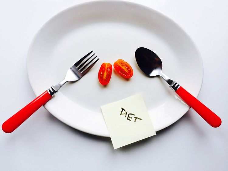 Diet time with tomato 🍅 Plate Fork Heart Shape Food And Drink White Background Indoors  No People Close-up Plate Cuttlery Tomato Dieta Party Food Fork Diet Diet & Fitness