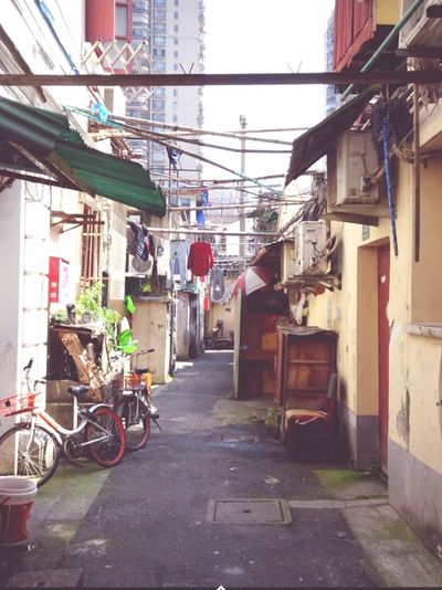 China Hutong Life Hutong Street Shanghai, China City Street Architecture Built Structure Sky Telephone Line Cable