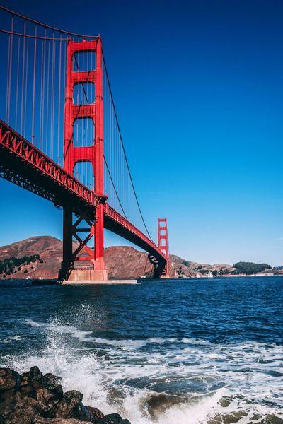 Golden Gate Bridge Golden Gate Bridge San Francisco San Francisco Bay Ocean Wave Bridge - Man Made Structure Suspension Bridge Architecture Connection Travel Destinations Built Structure Travel Red