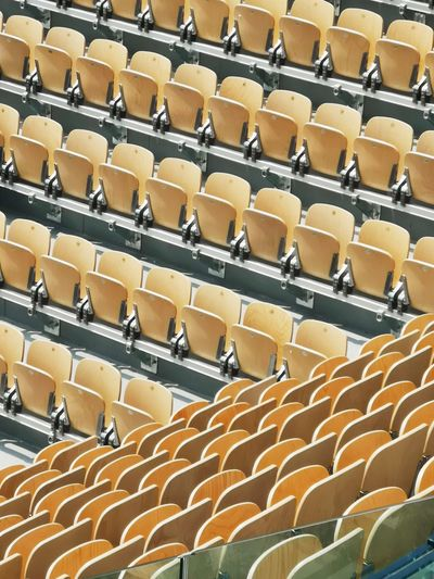 Roland Garros 2018 In A Row Large Group Of Objects Arrangement Full Frame Abundance Chair Seat Pattern High Angle View Backgrounds