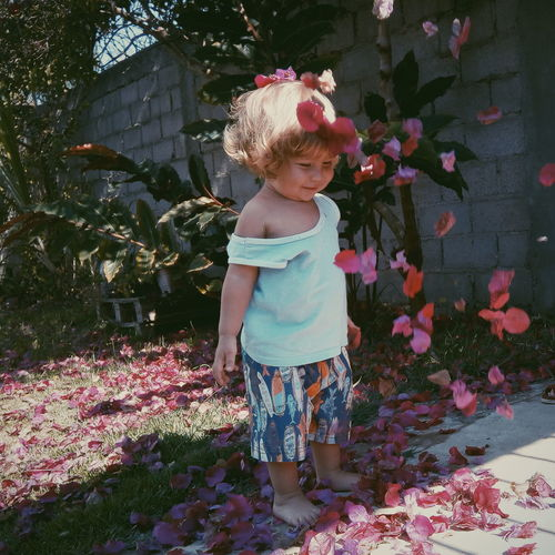 Flower One Person Childhood People Cute Day Outdoors Happiness Babies Only Child Smiling Freshness Nature Tree Red Lovely Pink Pink Color Freshness Nature