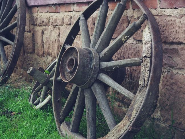 Abandoned Cart Day Decline Deterioration Field Grass Metal Nature No People Obsolete Old Outdoors Run-down Rusty Spoke Transportation Wagon Wheel Wheel Wood - Material