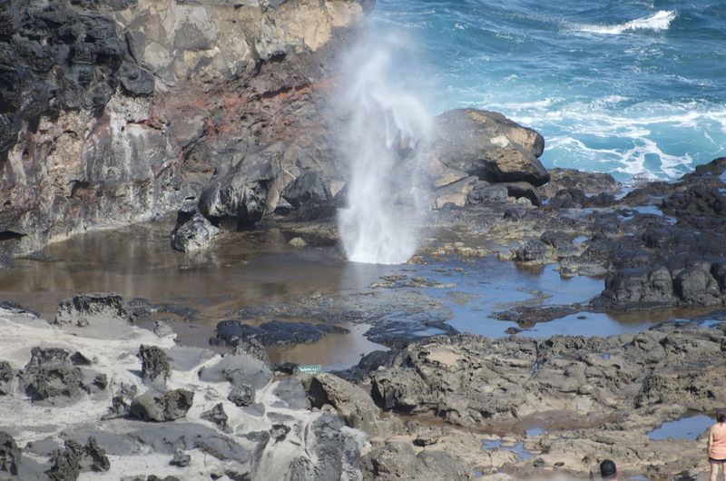 Hawaii Maui Beach Beauty In Nature Blowhole Day Geologic Features Geology Lagoon Land Motion Nature No People Outdoors Physical Geography Power In Nature Reflection Rock Rock - Object Rock Formation Sea Smoke - Physical Structure Solid Volcanic Landscape Water