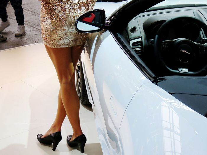 Low section of woman standing beside car