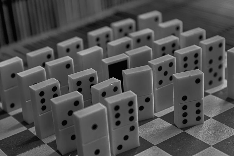 High angle view of dominoes on table