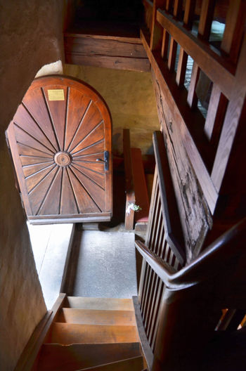 High angle view of spiral staircase in old church