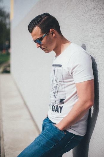 Adam Fujifilm Fujifilm_xseries Xpro2 Slovakia🇸🇰 Sunset Mitakon Mitakon35mmf095 One Person The Week on EyeEm Glasses Fashion Portrait Standing T-shirt Side View Sunglasses Mid Adult Casual Clothing