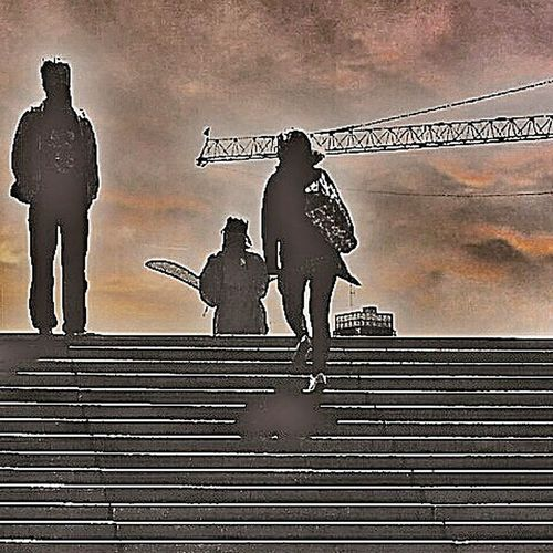 People Togetherness Streetphotography City Newcity Dawn Crane Stairs Sky