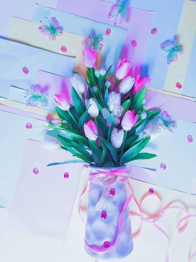 Pastel Coloured Flower Vase Of Flowers Ribbon Colour Paper Pastel Colored Flower