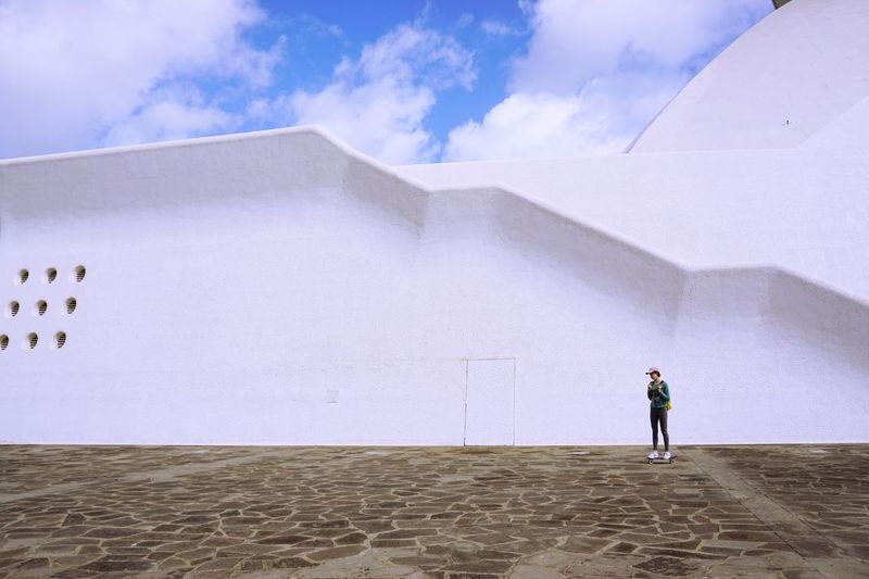 Skater girl. Auditorium in Santa Cruz de Tenerife, Canary Islands Skater Girl Copy Space Architecture Auditorium Childhood Day Desert Full Length Leisure Activity Nature One Person Outdoors People Real People Sand Sky Standing Tenerife Island Mobility In Mega Cities
