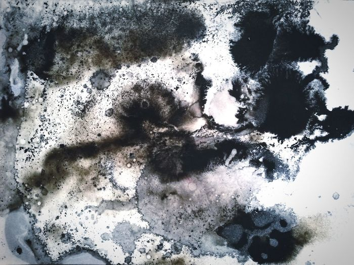 Water/Oil/Ink Abstract Ink Textured  Paper Paint Textured Effect Blackandwhite