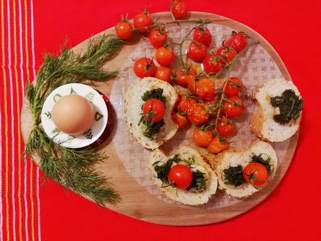 Healthy Lifestyle #creative Design Creative Light and Shadow Egg Creativefood Healthyfood Beautiful Foodstyling Foodphotography Premium Collection Premium EyeEm Selects Red Vegetable Tomato Directly Above Red Background Colored Background Close-up Food And Drink