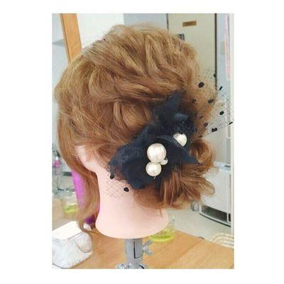 ヘアセット Hairアレンジ ヘアアレンジ Hair 美容院 錦 セットサロン 成人式 ヘアー クルリンパスティック 編み込み Byshair Locari 波ウェーブ ブライダル スタイルは前回と一緒でヘアアクセサリーをかえて♡ レースとチュールとコットンパールでつくりました♪