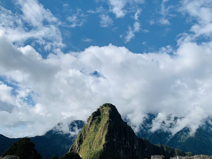 Mountain top photo taken at machu picchu of peru