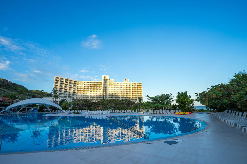 Architecture Blue Sky Building Hotel Morning Pool Poolside Renaissance Resort Okinawa Summer Vacation