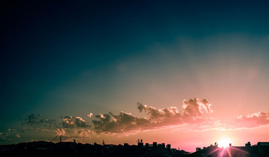 Panoramic View Of Silhouette Landscape Against Sky During Sunset