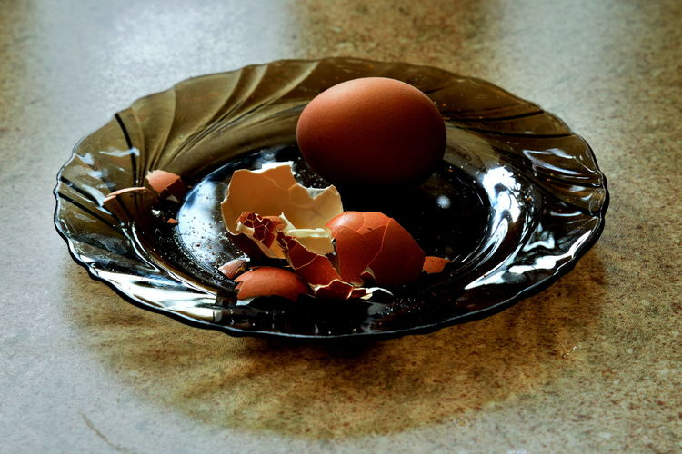 Interrupted Breakfast Breakfast Close-up Day Egg Eggs Eggshell Food Freshness Healthy Eating High Angle View Indoors  No People Plate Ready-to-eat Table