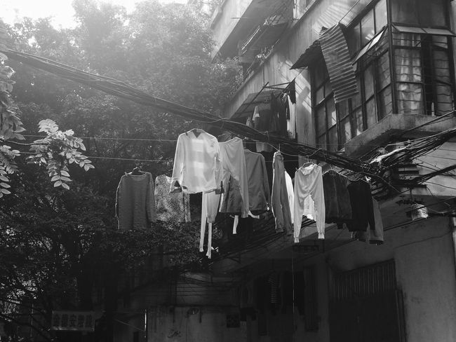 Drying Hanging Clothesline Laundry Clothing Building Exterior Architecture Built Structure Residential Building Low Angle View Cloth No People Outdoors Day Otembar Ebike 愛アムステルダム