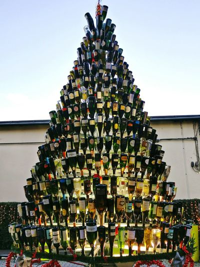 Christmas Christmas Tree Celebration Christmas Decoration Holiday - Event Christmas Lights TraditionOutdoors Christmas Ornament Wine Wine Bottle Wine Bottle Lamp Traveling Home For The Holidays Adapted To The City