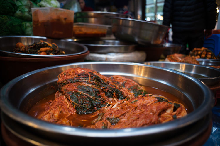 Asia, South Korea, Seoul Choice Close-up Composition Food Food And Drink Freshness Healthy Eating Healthy Lifestyle Indoors  Indulgence Kimchi!!!!! Meal Meat Plate Preparation  Ready-to-eat Seoul Serving Size SLICE South Korea Still Life Table Temptation