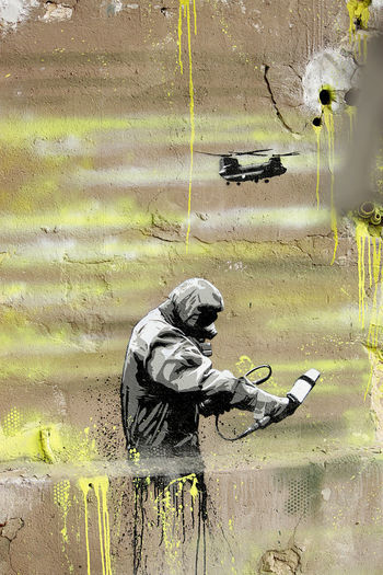 great street art in Berlin Art Berlin Cool Danger Dangerous Geiger Counter Graffiti Helicopter Lifestyles Modern Multi Colored Radio Activity Radioactive Schutzanzug Street Art Streetart Stylish Wall