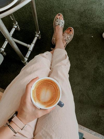 High angle view of coffee cup