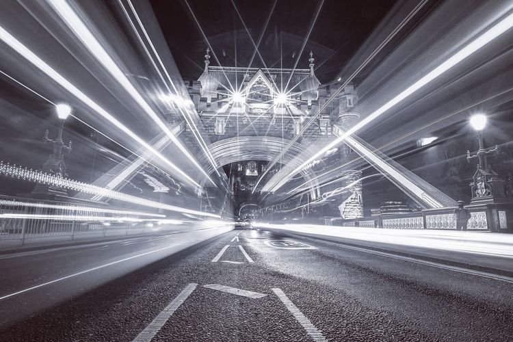 MonoWarp London Long Exposure Light Trails Traffic Buses Tower Bridge  Cityscapes Capital Cities  City Lights Streetphotography Great Britain Monochrome Check This Out London_only Road Middle Of The Road Bridge Iconic London Iconic Landmark Need For Speed City Of London Cityscape The Street Photographer - 2016 EyeEm Awards The Architect - 2016 EyeEm Awards EyeEm LOST IN London