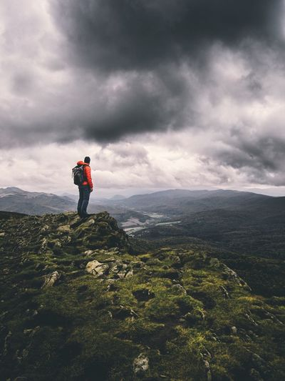 Lost In The Landscape Cloud - Sky Mountain Beauty In Nature Full Length Sky Hiking Nature Adventure Real People Standing One Person Tranquility Backpack Tranquil Scene Scenics Outdoors Rear View Leisure Activity Landscape Hiker