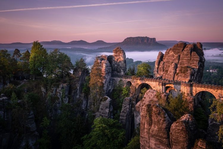 Bastei bridge surise fog in sächsische schweiz