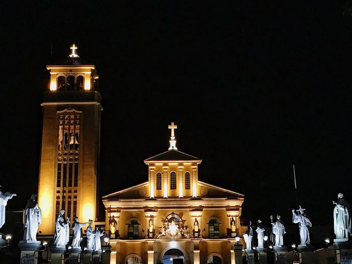 Night Illuminated Architecture History Built Structure Building Exterior Religion Outdoors Travel Destinations Statue Architectural Column No People Sky ManaoagChurch Manaoag, Philippines Manaoag Basilica Of Manaoag