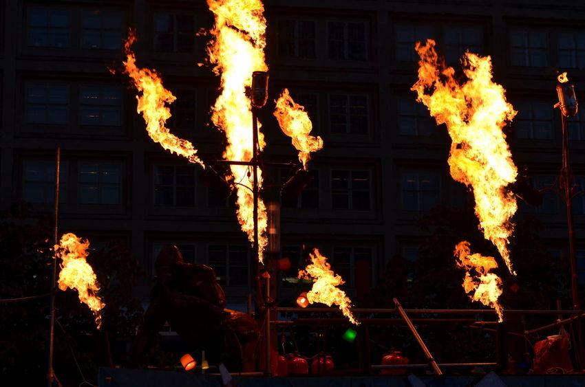The City Light Fireshow Night Celebration Flame Holiday - Event Burning Berlin Festival Of Lights Berlin Photography Street Photography Alexanderplatz