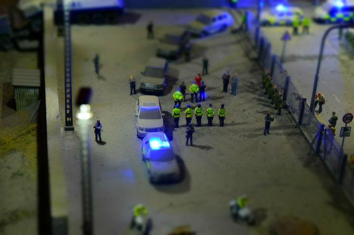Art Dismaland Exhibit  Installation Installation Art Jimmy Cauty Miniature Police Riot Police Riot Scene Tropicana Weston-super-mare Thin Blue Line FlashingLights Flashing Lights At Night Dismaland®