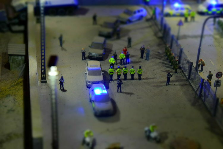 Art Dismaland Exhibit  Installation Installation Art Jimmy Cauty Miniature Police Riot Police Riot Scene Tropicana Weston-super-mare Thin Blue Line FlashingLights Flashing Lights At Night Dismaland®