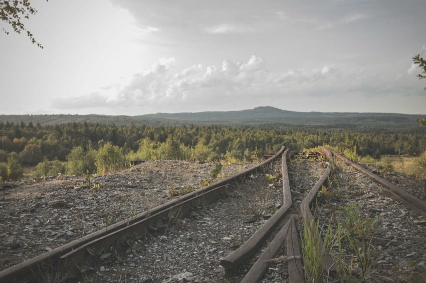 ending tracks - abandoned mine Landscape Field Hill Cloud - Sky Tree Nature Outdoors No People Woods Forest View Into Land View From Above View Tracks Rails Ending Ending A Trip End Sky Skyline Clouds Matte Mountain Mountains Czech Republic Been There. Perspectives On Nature