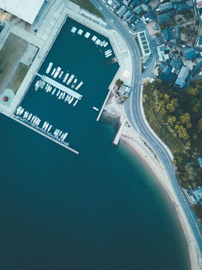 Drone view of the naoshima shore