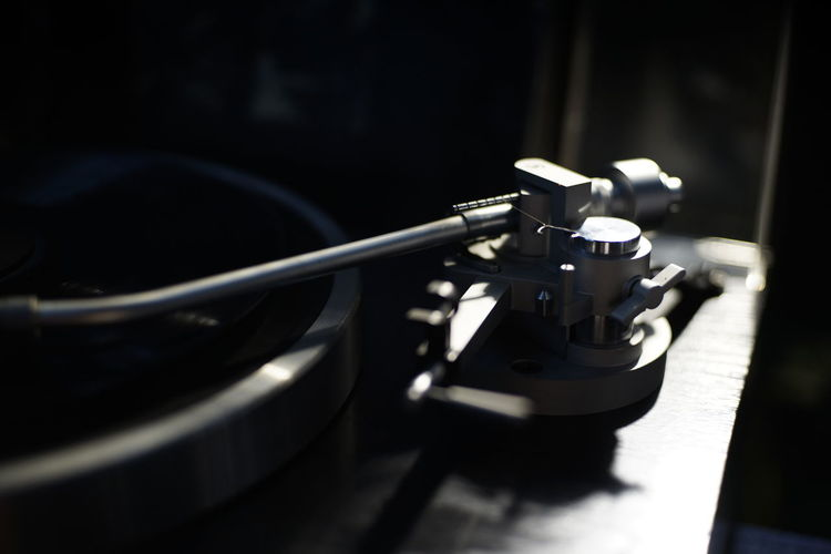 Record Player Needle Black Background Close-up