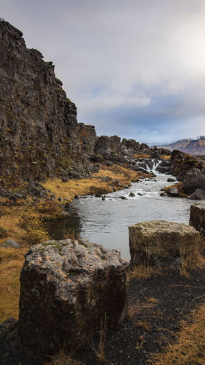 Thingvellir National Park Land Of Fire And Ice Iceland Thingvellir National Park Rock Water Sky Solid Rock - Object Scenics - Nature Nature Beauty In Nature Cloud - Sky Mountain No People Tranquility Sea Tranquil Scene Rock Formation Day Land Non-urban Scene Outdoors Formation