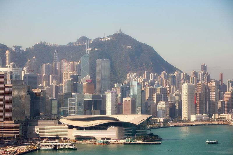 Hong kong convention centre facing victoria harbour