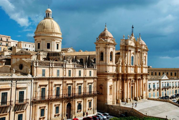 Architecture Cathedral Noto Buildings Clouds Town Church Italian Italy Sicilia Sicily Architecture Building Exterior Built Structure Sky Cloud - Sky Building Travel Destinations Dome No People Outdoors Religion Day History The Past Tourism Travel